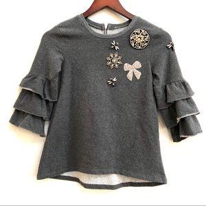 Other - Girl's jeweled dragonfly ruffle sleeve sweatshirt